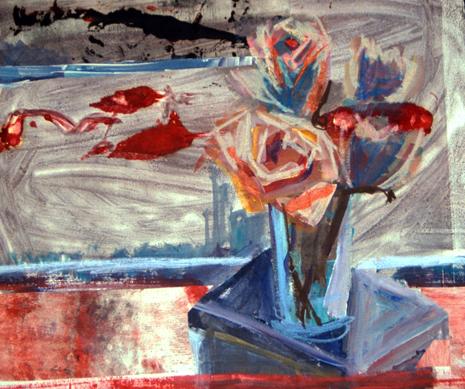 FLEEING ROSE- 18 x 21- mixed media- 1997