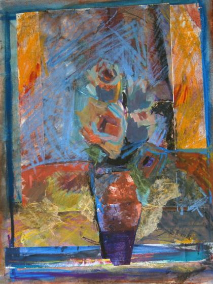 ROSES YELLOW- 26  x 19- mixed media- 1995