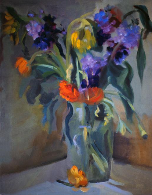 FALLEN FLOWER- 26 x 15- oil on paper- 1990