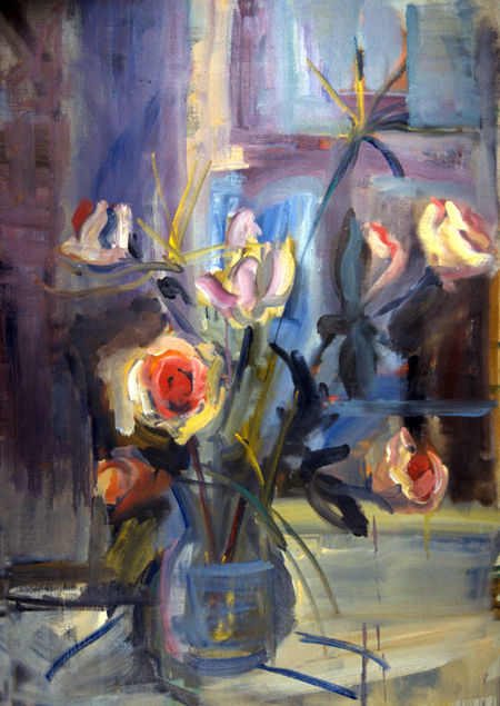 PAPYRUS AND ROSE- 40 x 28- oil on canvas- 1997