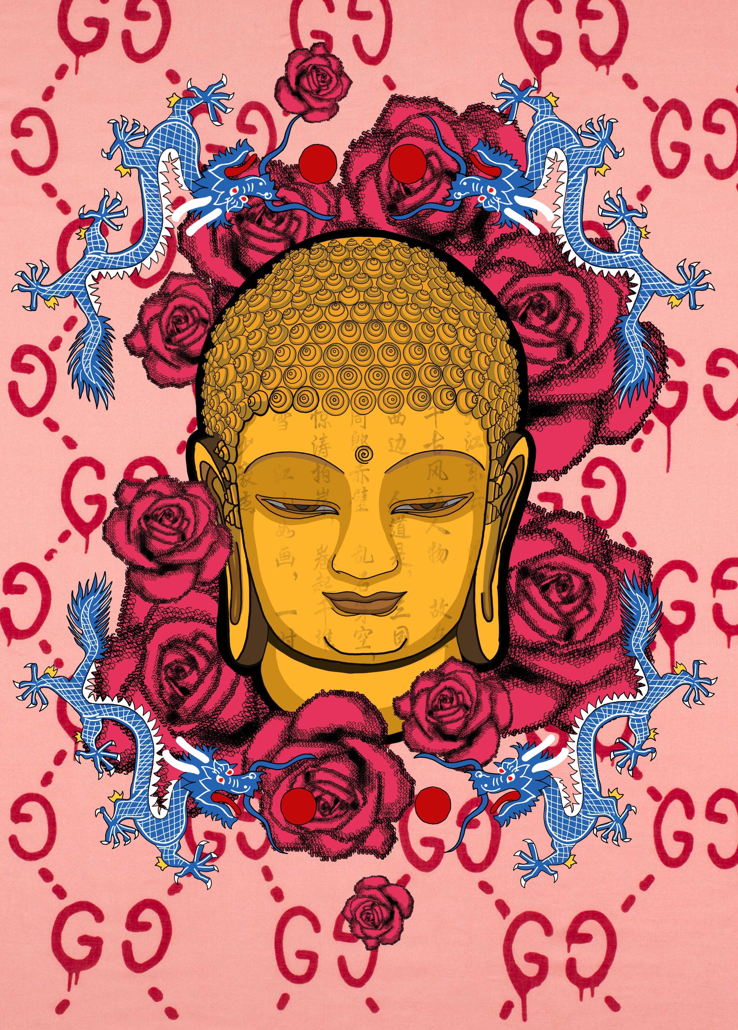 JING BUDDHA FROM THE ROSE HEAVEN (GG GUCCI PRINT)