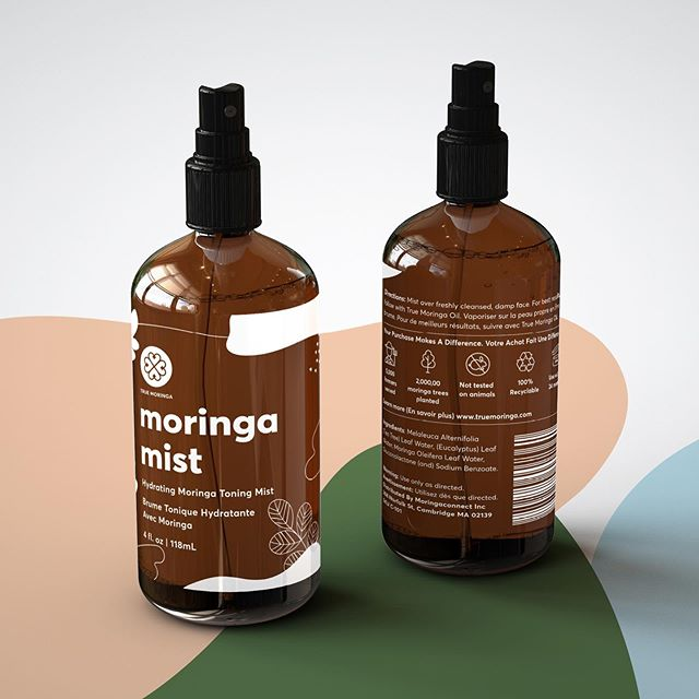Moringa mist - packaging and design for @truemoringa #Moringa #skincare #truemoringa  This amber bottle has a screen printed label in white print using the same elements 😍🌿 we hand illustrated these little leaves and moringa seeds.