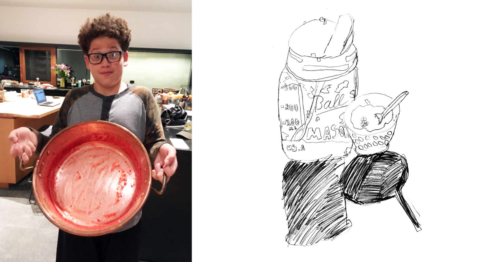 Grandson Anthony as sous chef and illustrator.