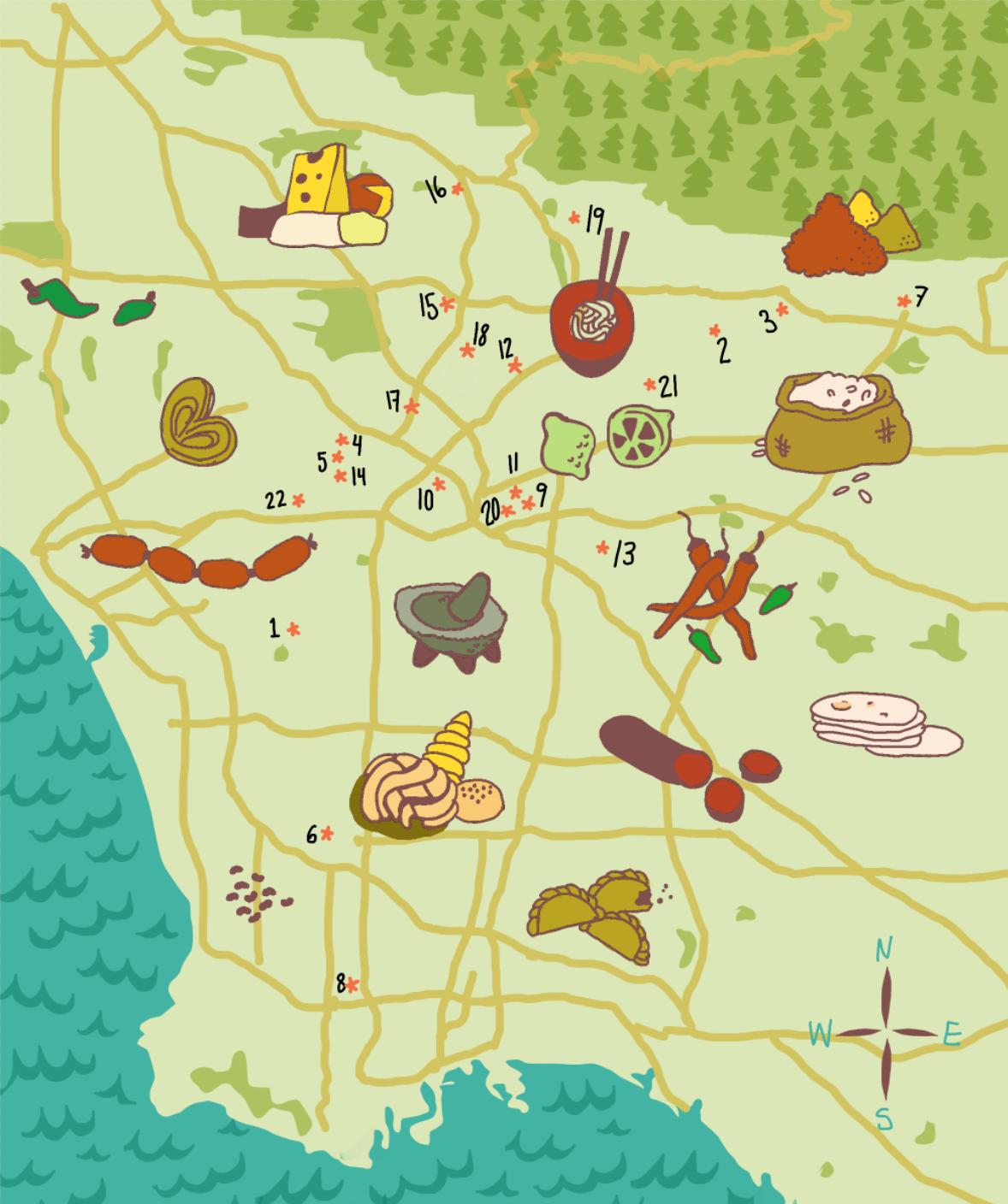 Map of markets and food resources from Mario and Rumi.  Illustration by  Simone Rein