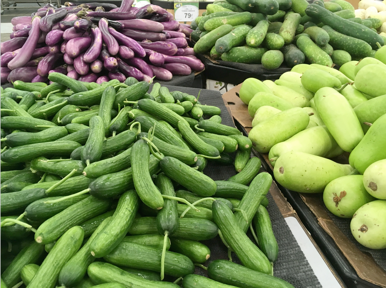 The beautiful vegetables at 168 are impossible to resist: cucumbers, Japanese eggplant, zucchini and bottle gourd.