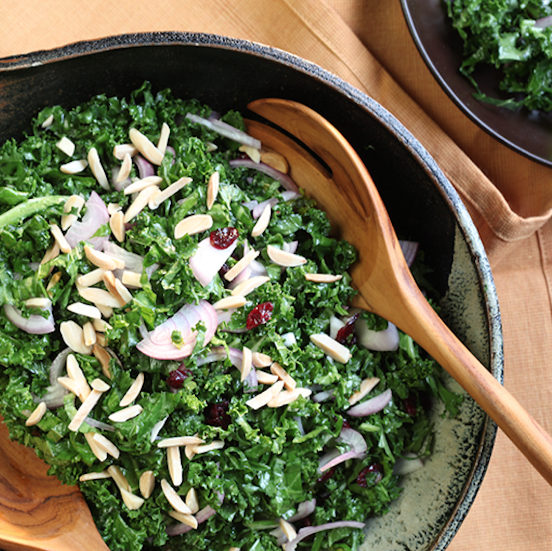 Above, a package of freshly grated cheese at the ready. Below, a salad with roasted almonds.Photo by   Ann Cutting.