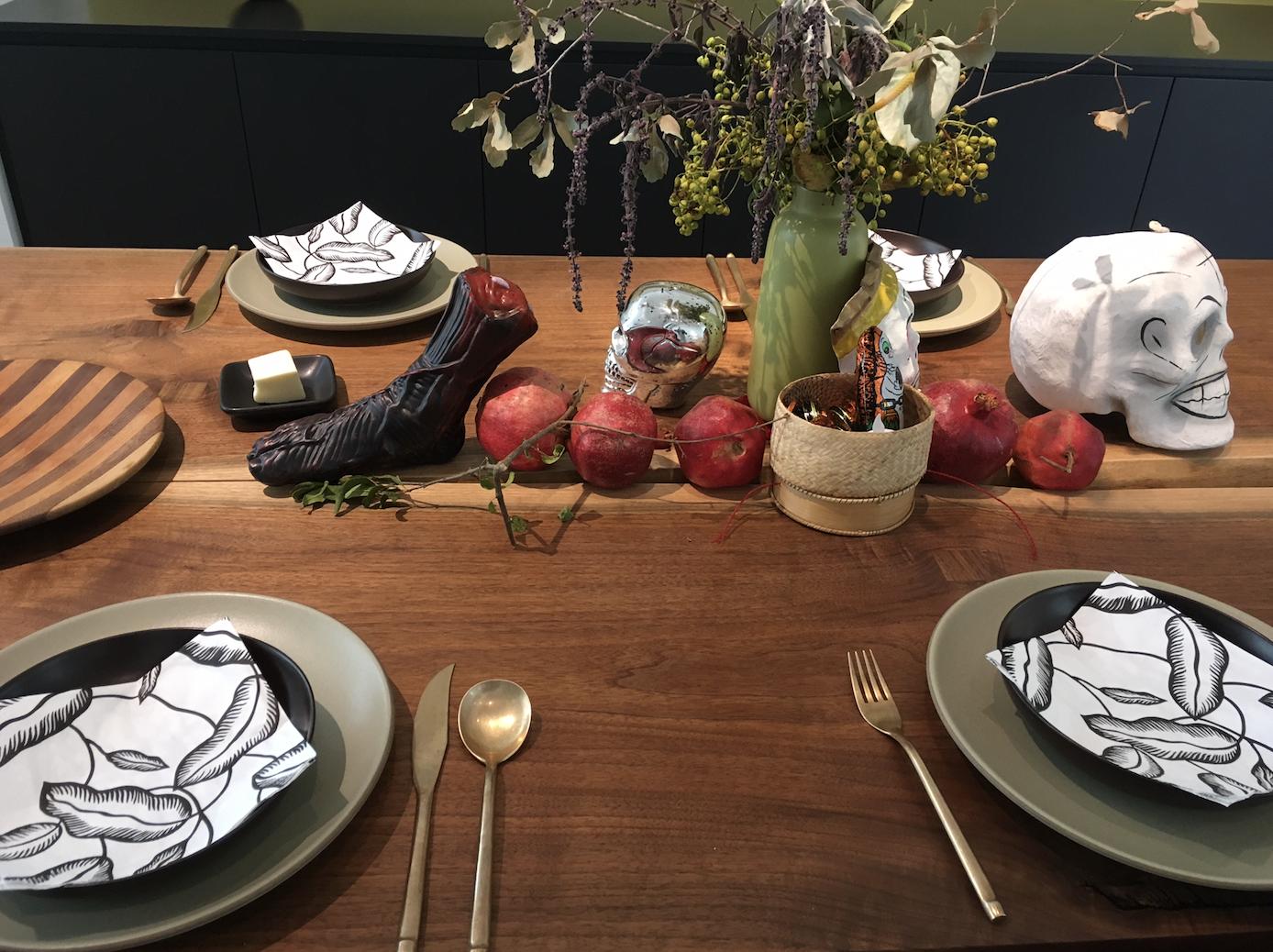 Table set for Halloween dinner.