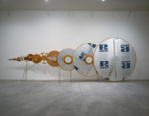 Tim Hawkinson, Spin Sink (1 Rev./100 Years)(1995) Gears, metal, plywood, foam, plastic, corduroy, toy motor.