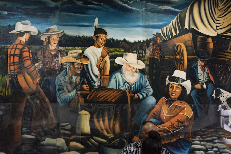 Mural of Bonnie B's family members beginning third from the left: Clarence Henderson, Bonnie Henderson, Dr. Geller (stepfather to Bonnie and Clarence), Moms/Joy Henderson Geller (mother of Bonne and Clarence, grandmother of Michael). Photo by  Sally Kreuger-Wyman.