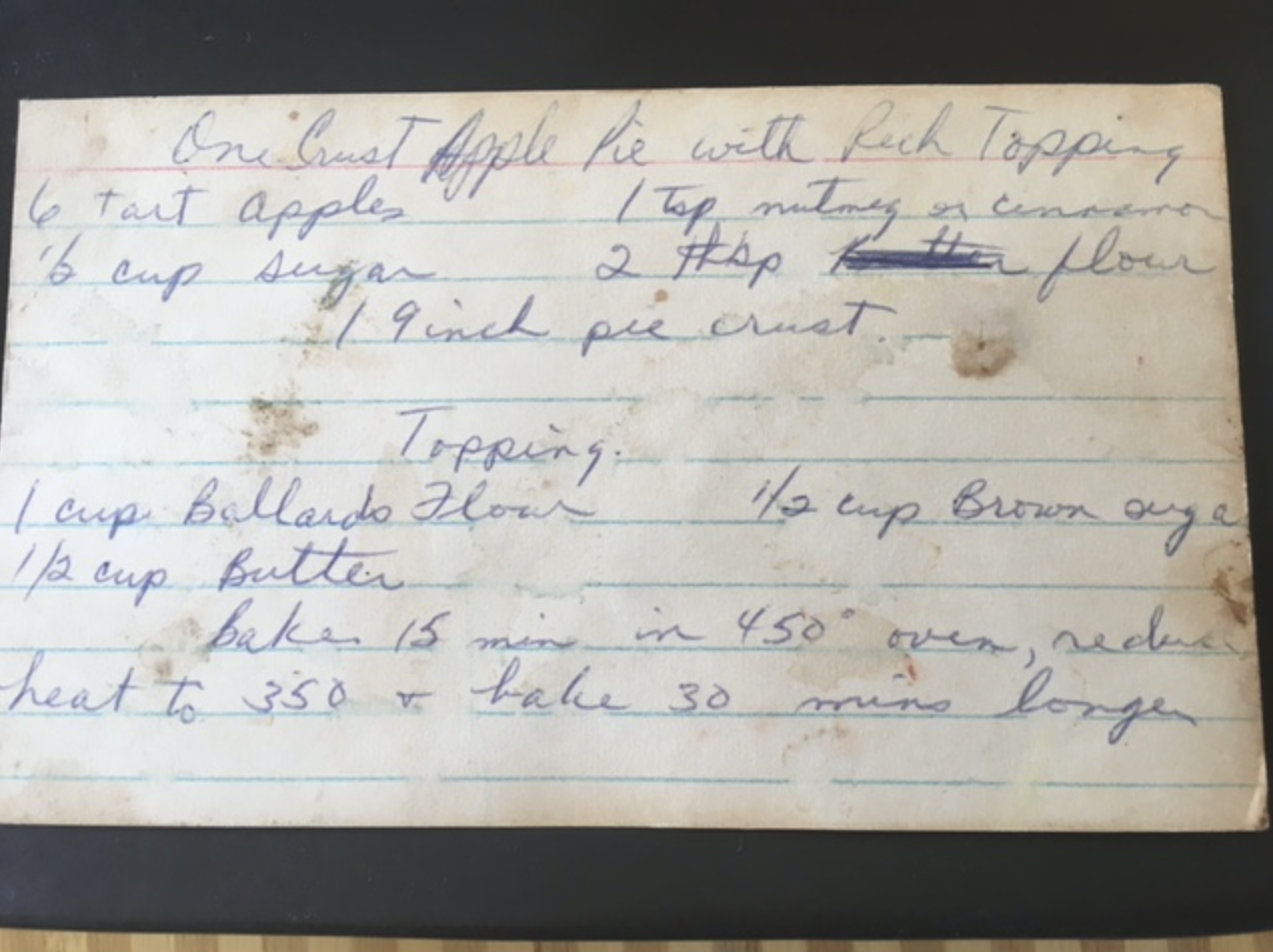 From Jo's mother Nell's recipe for Apple Pie. Jo's family is from Kentucky, land of excellent sweets. (Pickle relish is a common savory ingredient.)
