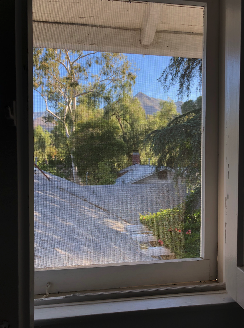 View through the window at Ojai's Peppertree Retreat.