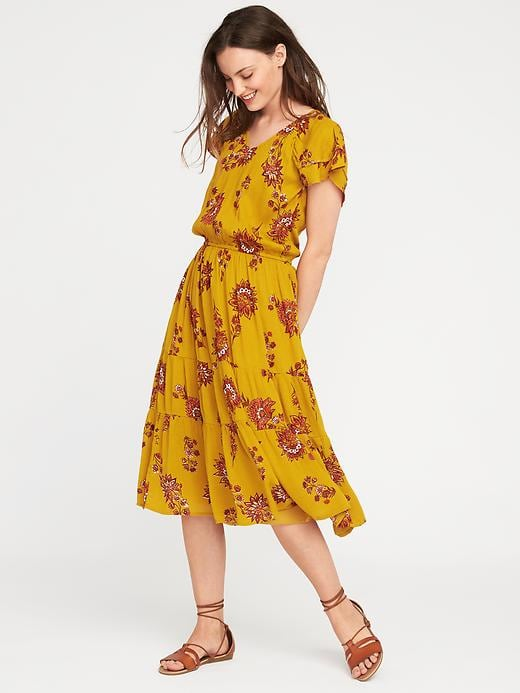 flutter-sleeve waisted midi dress in yellow floral.jpg