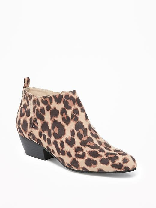 sueded ankle boots for women in big leopard.jpg