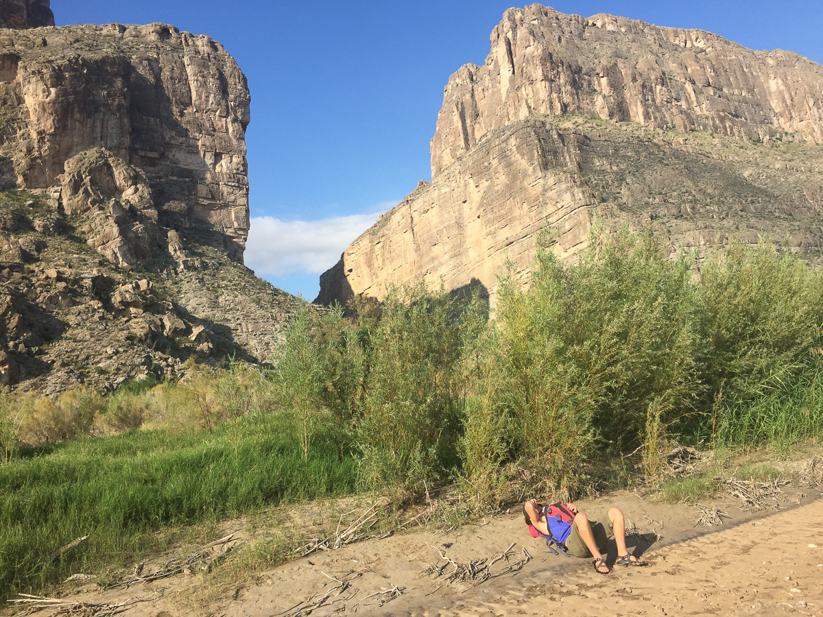 Griffin relaxes after finishing the canyon