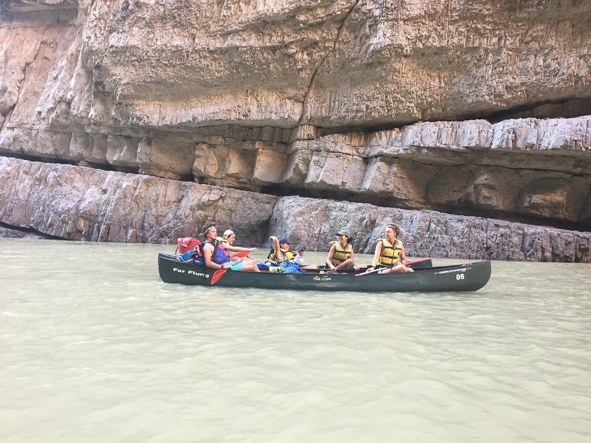 Gardner, Nina, Elizabeth, Maya and Amanda scope out the canyon