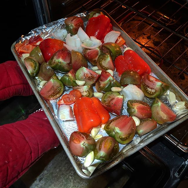 Roasted: - Heirloom tomatoes - Fresh garlic - Bell pepper - Onion  This is going to be amazing soup!