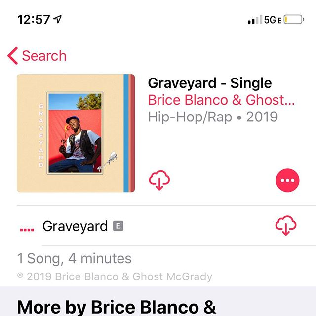 Go listen to Graveyard by @bricehourglass on Apple Music now!  the other streaming sites are lagging right now, but it will be up soon