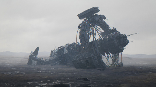 Derelict Ship   by David Edwards (over on Art Station)  hat tip to  camerxn  who put it on Tumblr and  tanif  who's tumblr I saw it on