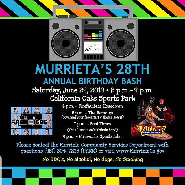 Next up for The Remotes, Murieta's 28th Annual Birthday Bash! @murrietaparksandrec has all the details. We hope to see you there!