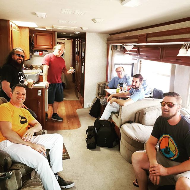 Some of the oh-so-handsome members of The Remotes enjoying some time in the band trailer before our gig for @murrietaparksandrec #tv #tvthemes #tvtributeband #tvband #theremotes #theremotesband #remotes #remotesband #murrieta #murriettabirthdaybash