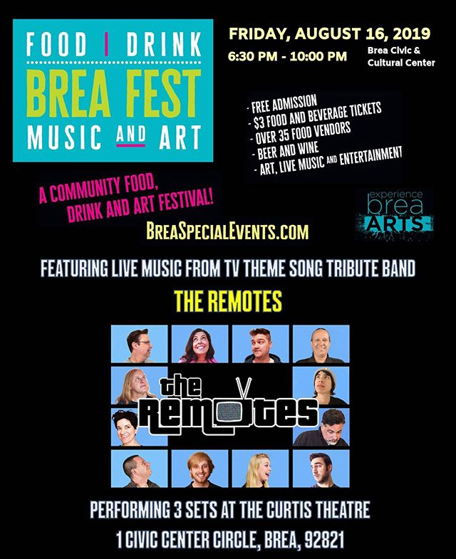 L.A.'s only TV Theme song tribute band! Next gig: Tonight!! Brea food fest at The Curtis Theatre! Three sets, 7,8&9pm. Free!!!