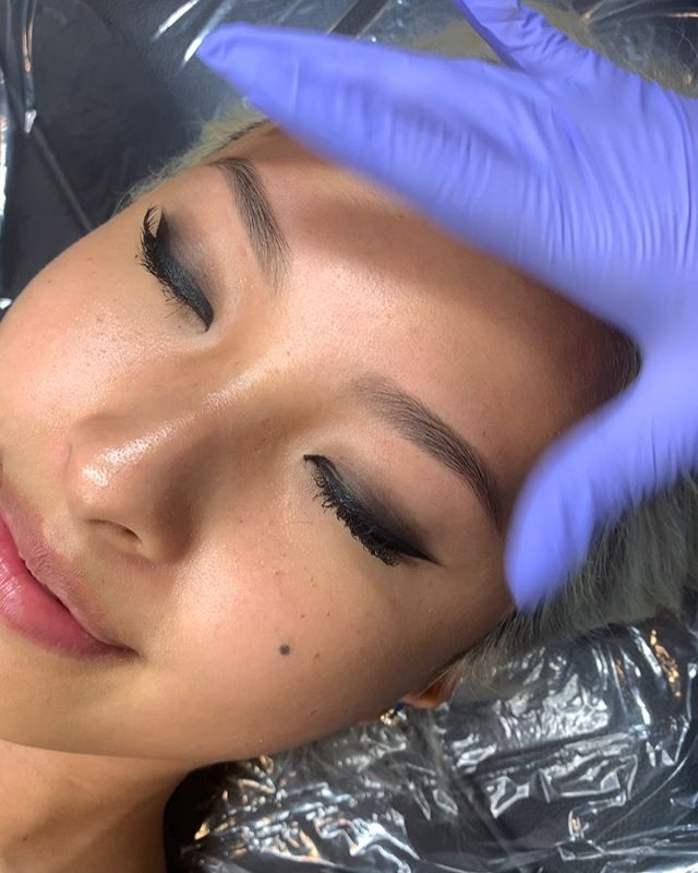 Healed brows before touch up! Had to wait longer to touch these up as Kate's in NYC for school! Love the softness so much! swipe to see after touch up ✨ .
