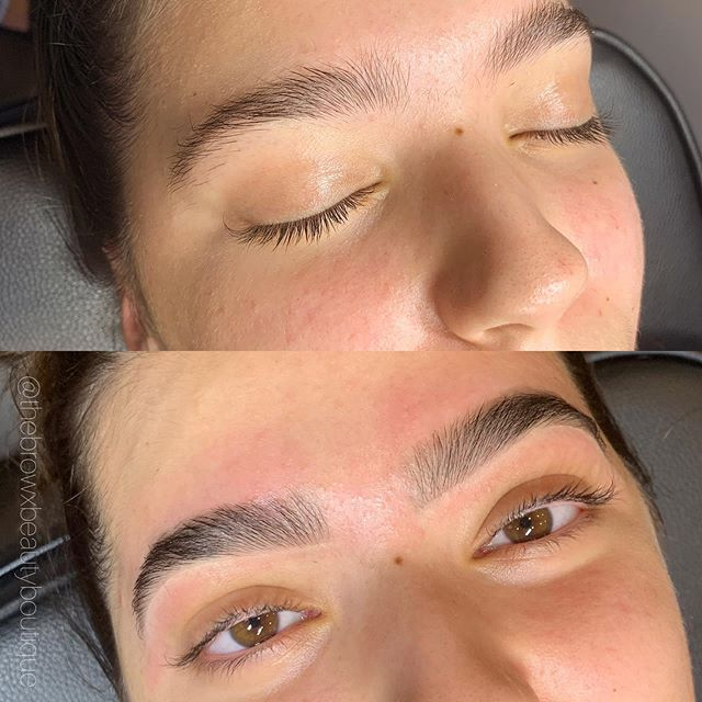 This girlie is now all ready for Portugal 🇵🇹 Brow shape & tint just because she's going on vacay ✌🏽 Booking linked in bio for all regular brow services! .
