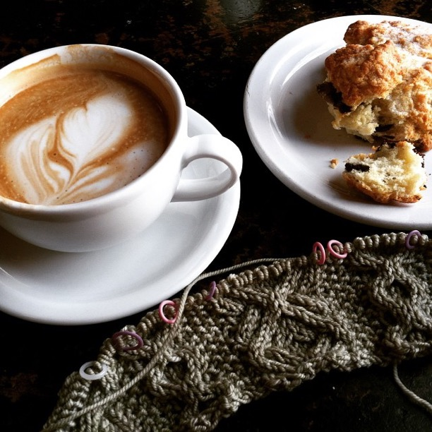Coffee and knitting at one of my favorite places   Atticus   Coffee and Gifts. The pattern is   Candlewick Hat   by   John Brinegar   in   Baah   Sonoma.