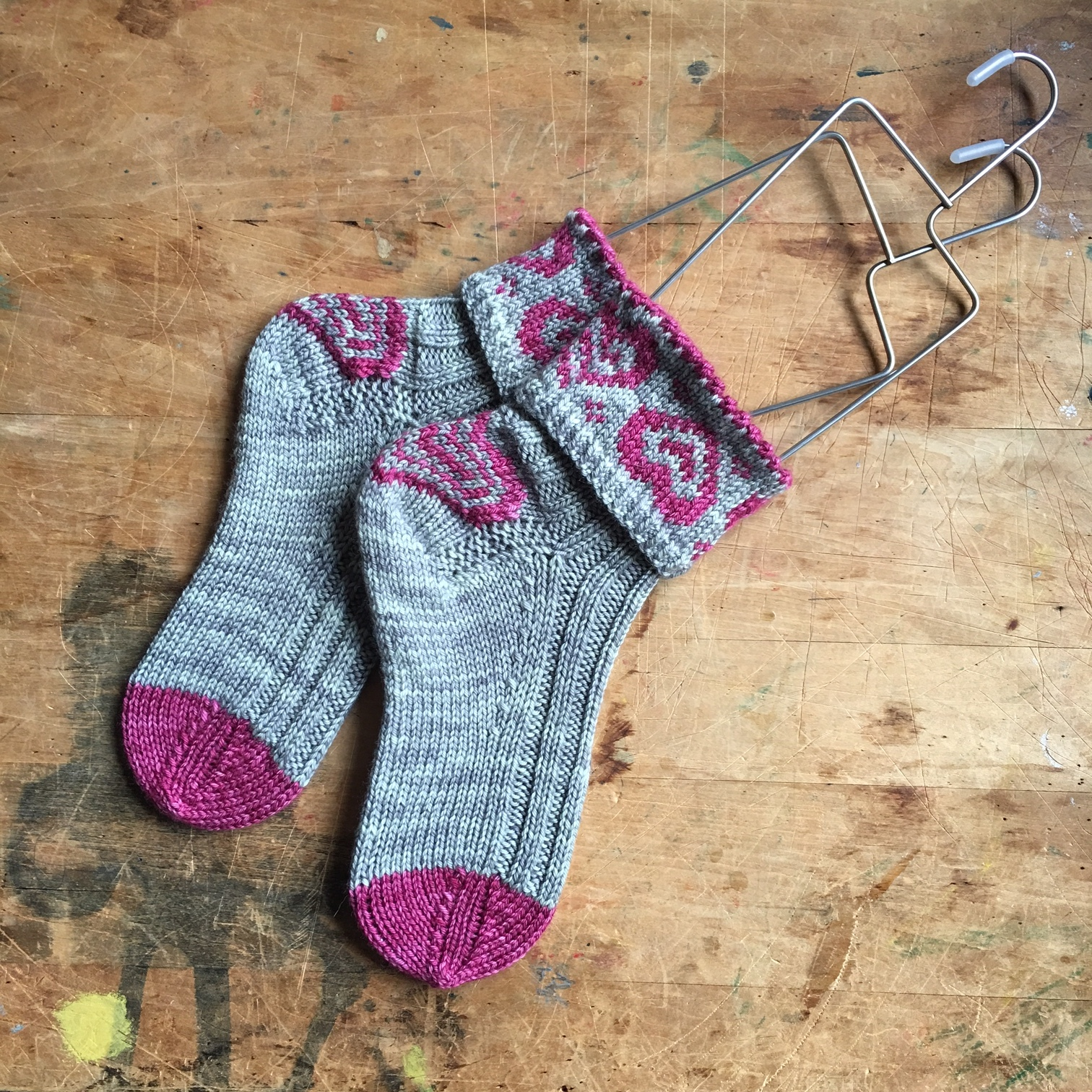 ValentineSox   by   Wenche Roald   knit in   Oh!Loops  .