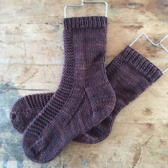 Rye   socks by   Tin Can Knits   in   Sweet Georgia   Super Wash Worsted color Auburn.