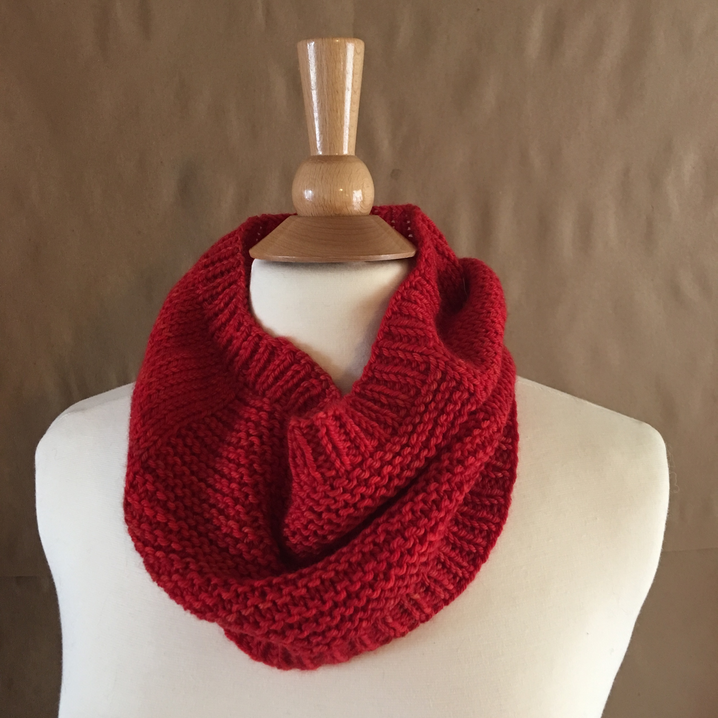 Oats Cowl   by   Tin Can Knits   in   Superwash Worsted   color Blood Orange