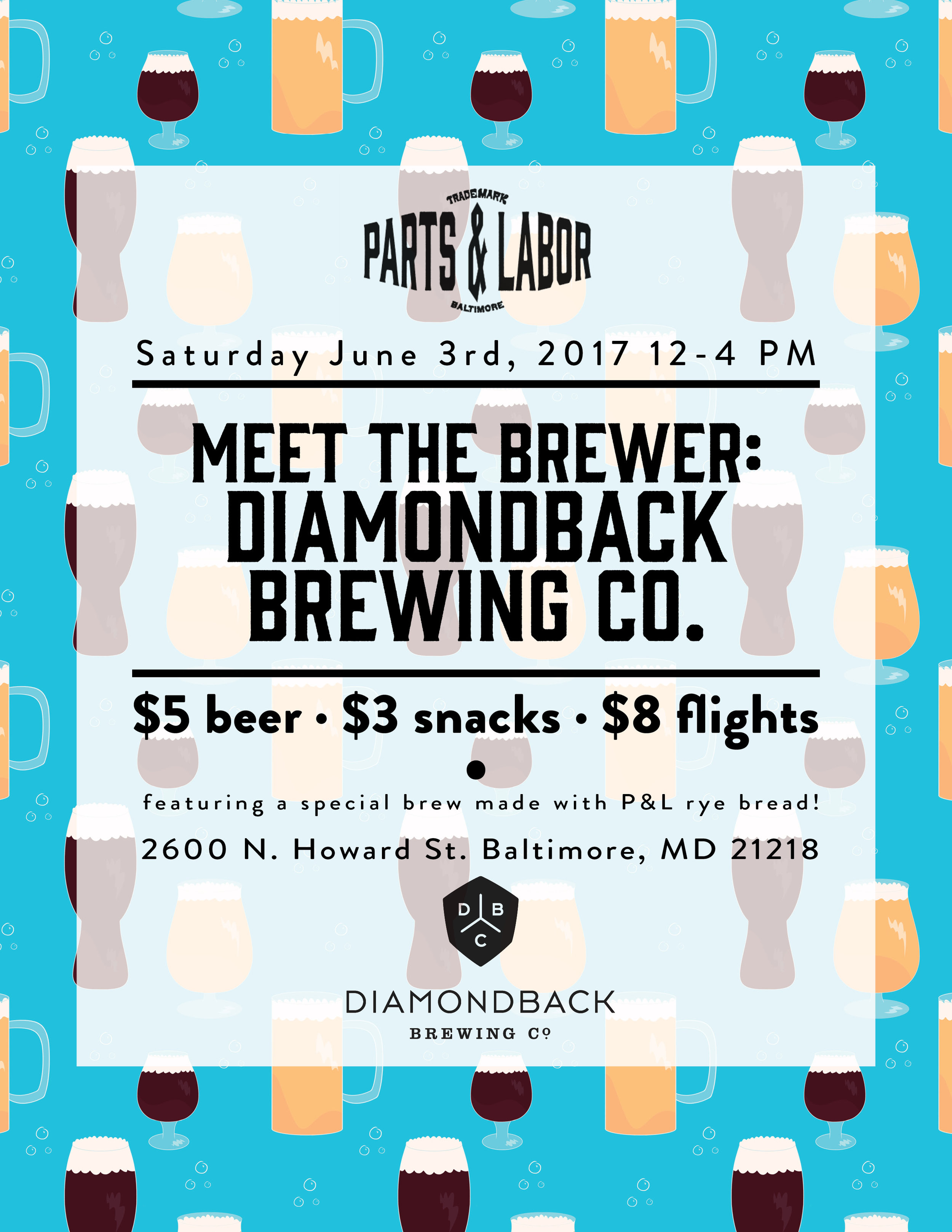 Flyer for Parts & Labor and Diamondback Brewing Company   Pattern and Design