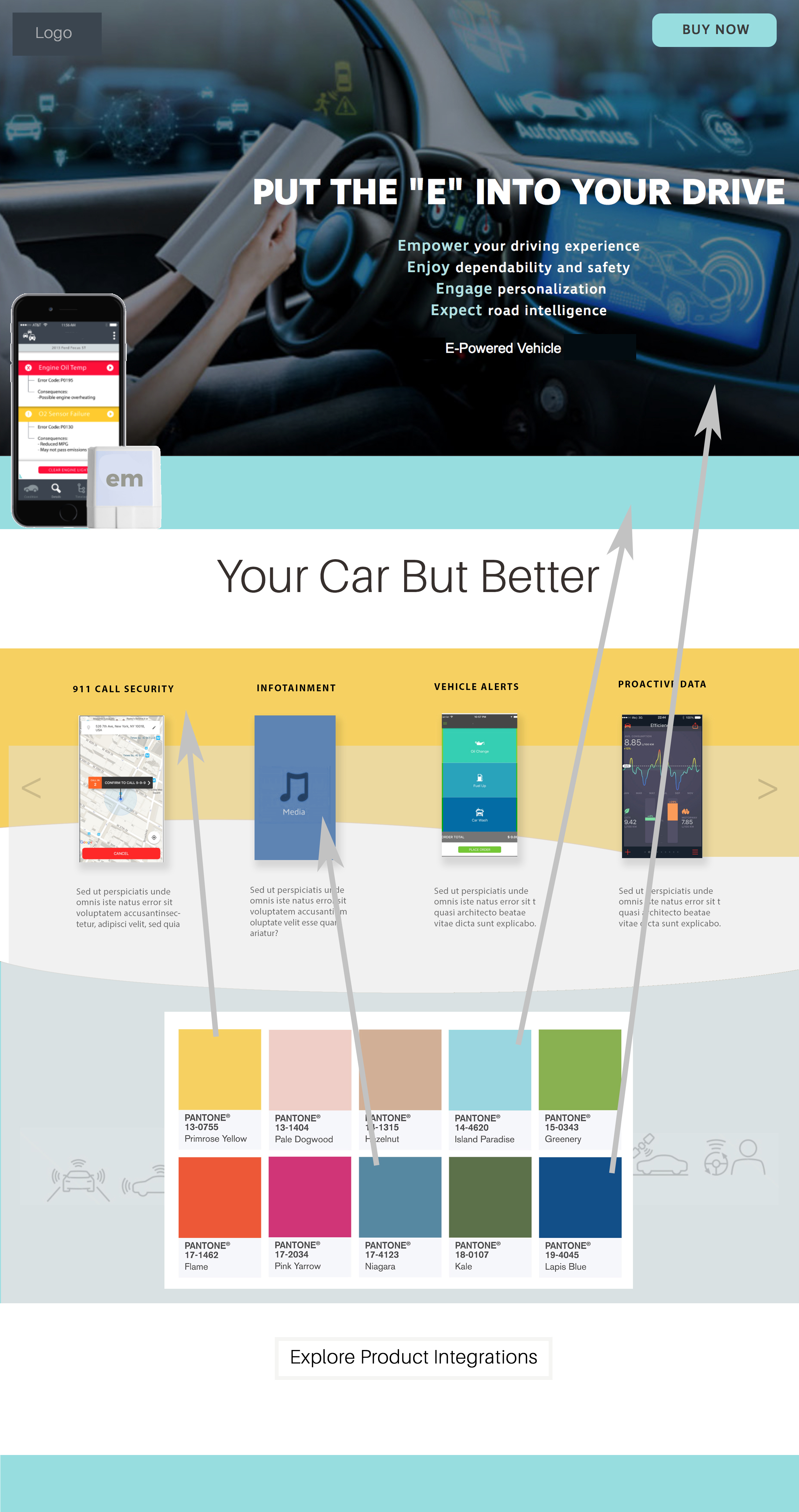 modernize and use color - Niagra Blue -infotainment app- is the new white in car purchasing behavior in 2018. The company website blue is periwinkle. The colors of the future are predicting a more integrated global intelligence in the muted blues.Yellow signifies the power of the sun.Niagra blue's accent color Pantone Paradise. And aqua blue is a global car positive purchase color. Primrose yellow represents positivity; hope and prosperity. A perfect compliment to Niagra.Recommended a roll out that eliminates the alarming reds in the current brand and considers a full color system based on the meaning of yellow and blue.