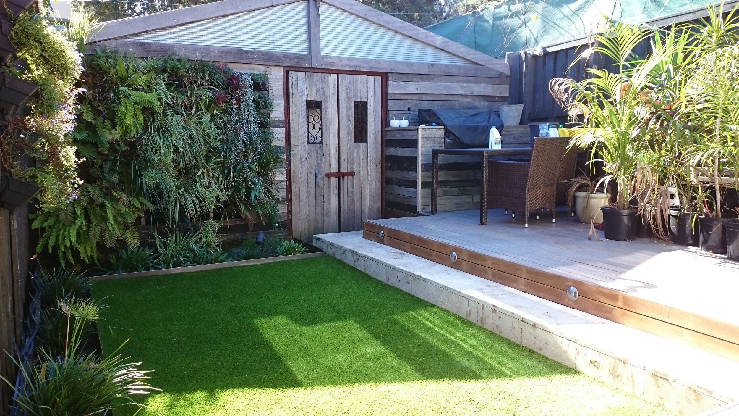 Interesting garden design for a small space. This garden has utilised all of their space, which is small. They have converted the fences and shed walls to gardens with their green walls. Grass is not an option for this garden as it is too shady, so the use of synthetic grass just lifts the area. Making the space look larger.