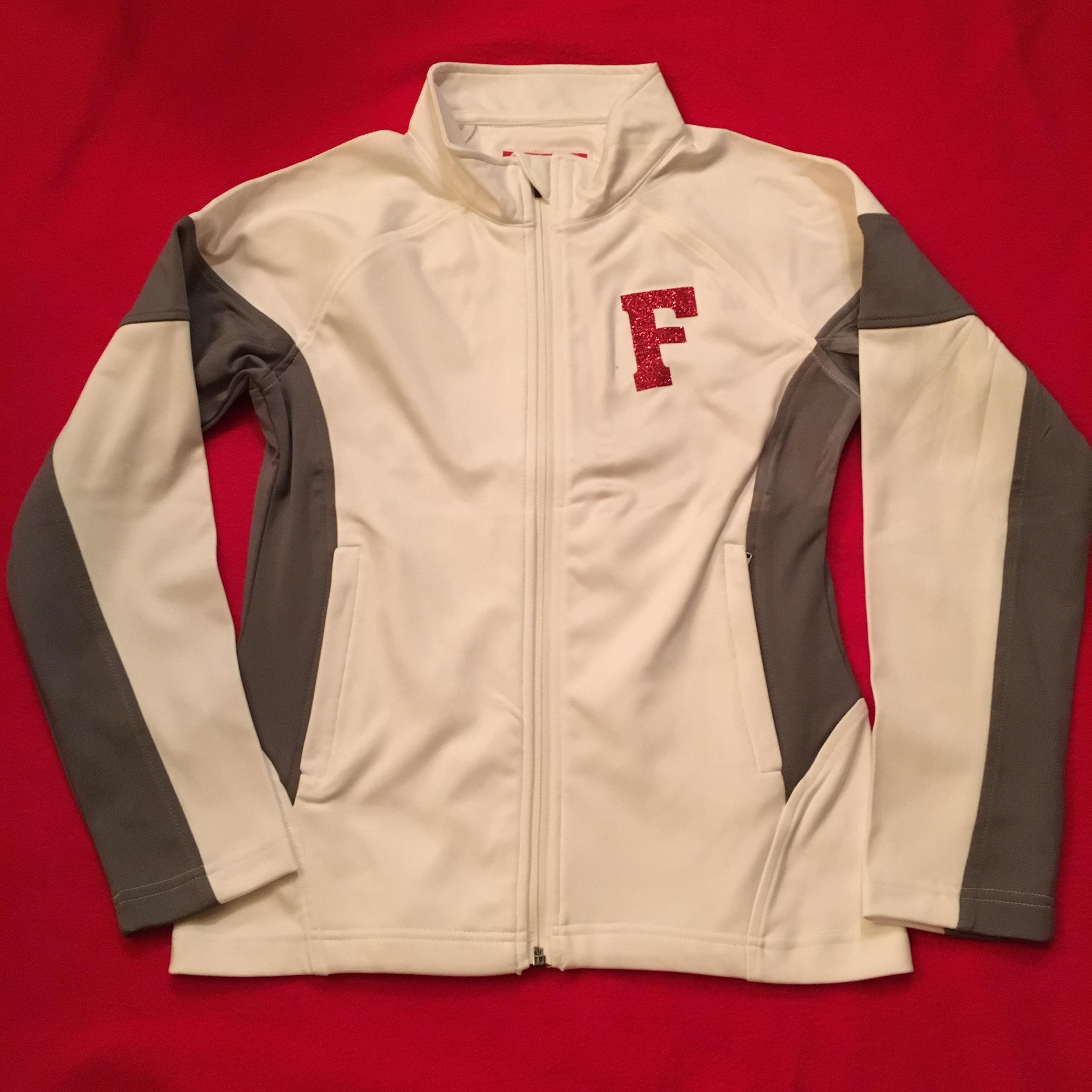 SW Ladies white/grey full zip jacket w glitter logo front