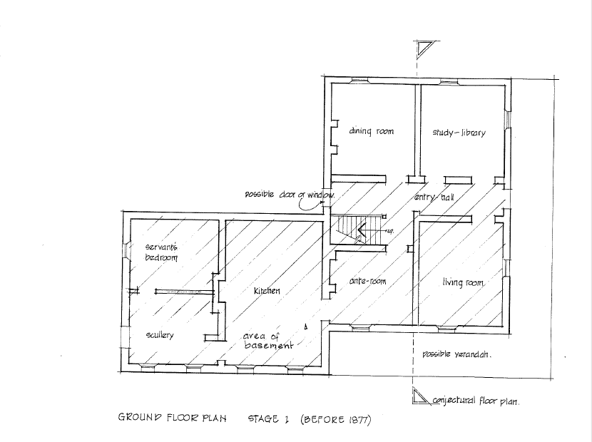 Conjectural floor plan per Cripps 1992 report - right hand side of the building was probably longer (see Sprents 1874 and post-Hunter addtions 1877 images below)