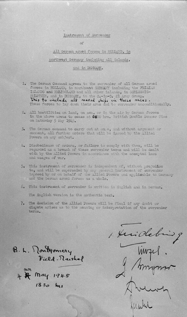 WW2 Instrument of Surrender signed by Bernard Montgomery on behalf of the Allied Powers on 4 May 1945 to end the war in Europe