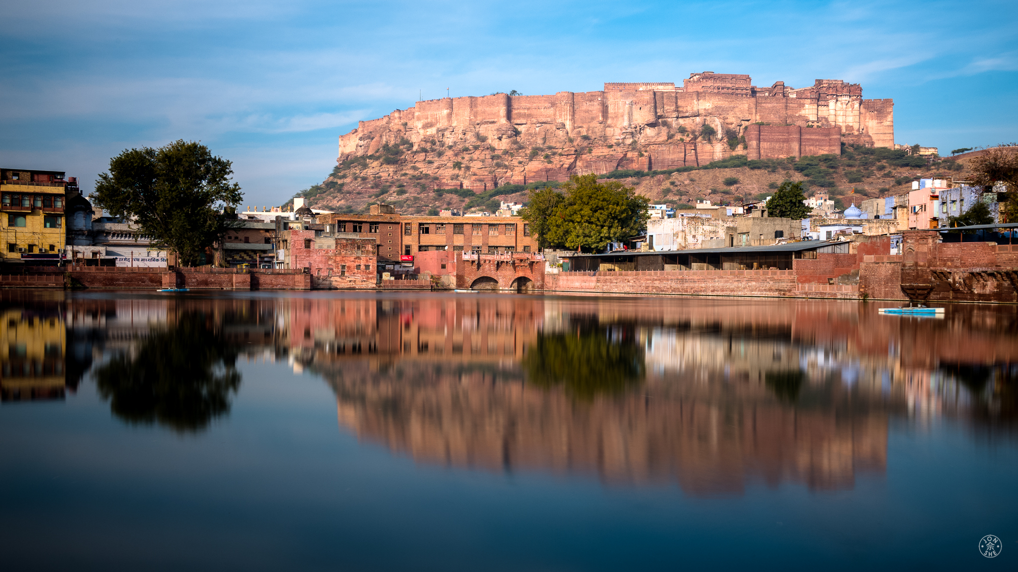 """The Fort at Dawn"".  Jodhpur, India. January 2017. © Jon She. Leica M10, Leica Summilux 28mm f/1.4.  A straightforward shot of the fort above the Old Town of Jodhpur."