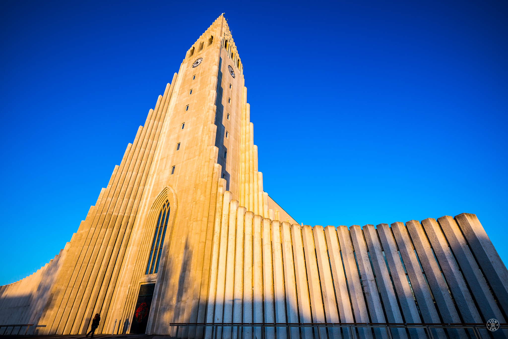 """Reykjavik Cathedral at Sunset"".  Reykjavik, Iceland. August 2015. © Jon She. Leica M240, Leica Tri-Elmar-M 16-18-21 f/4.0 ASPH."