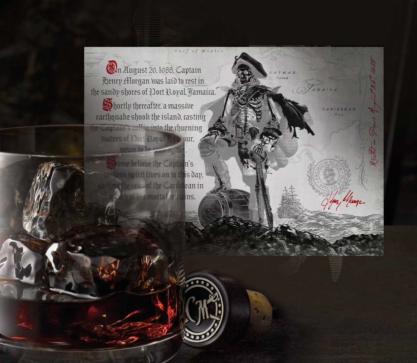 As the bottle is emptied, a wicked and witty image of the ghost Captain is revealed along with his legend.