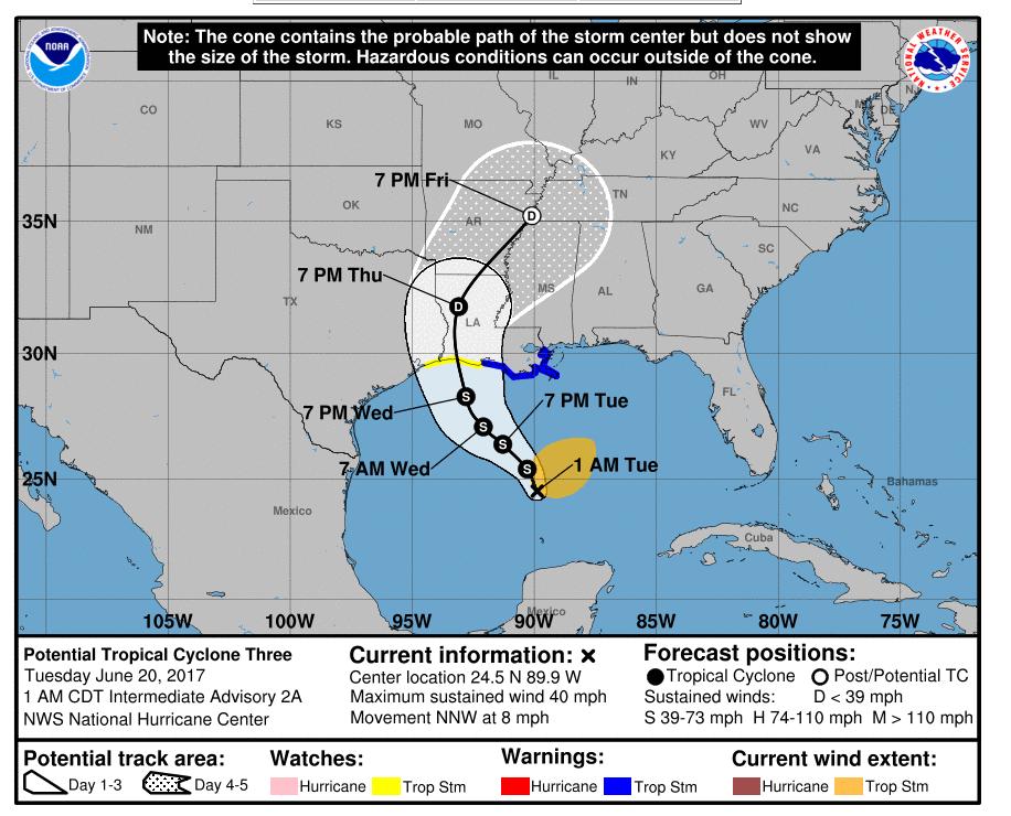 Прогноз движения шторма в ближайшие 5 дней