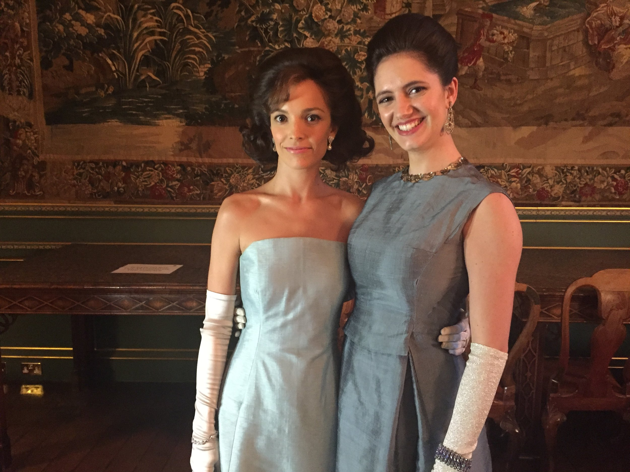 Jodi Balfour as Jackie Kennedy and Skye Hallam as Lee Radziwill for The Crown series 2