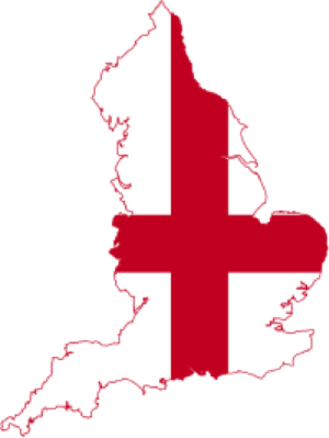Map of England (cutting off Scotland and Wales), with flag of England overlay.     Source: commons.wikimedia.org, labeled for reuse