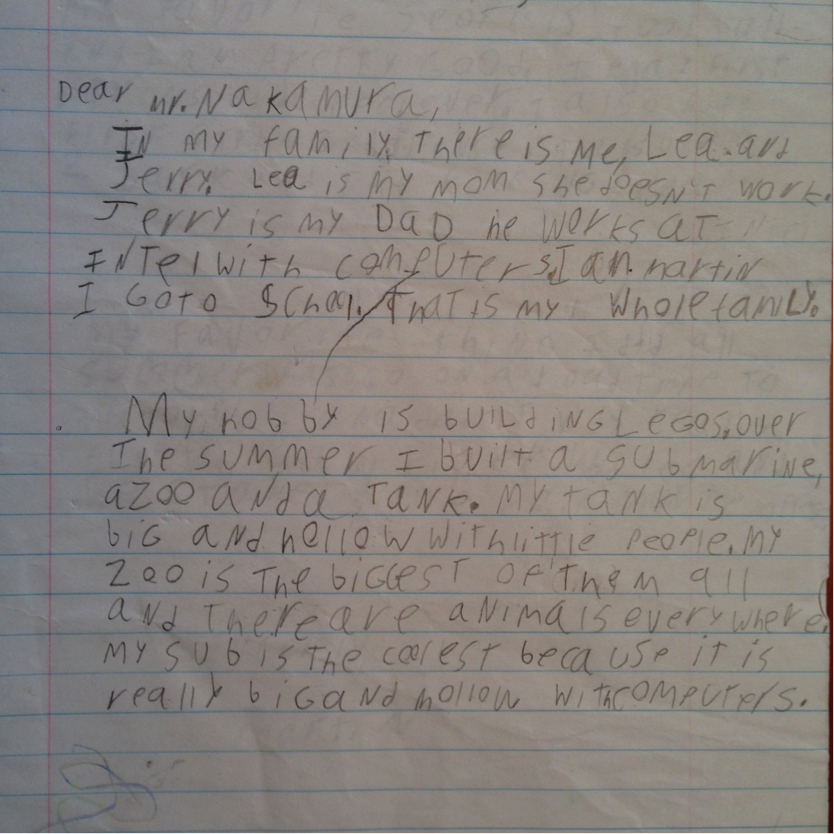 Picture of my handwritten work from third grade. Note the mix of upper- and lowercase letters and failure to stay within lines, while showing below age-appropriate mastery of the English language.