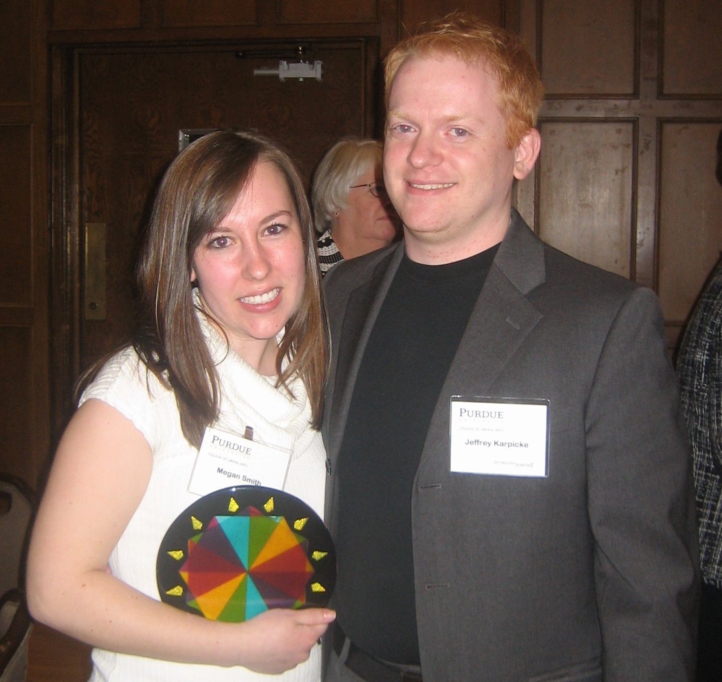 Dr. Jeff Karpicke and I, after I won a Purdue award for my research in his lab.