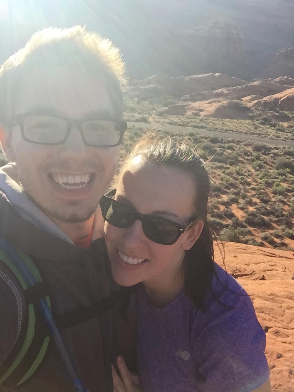 My husband Sam and I, hiking in Utah.