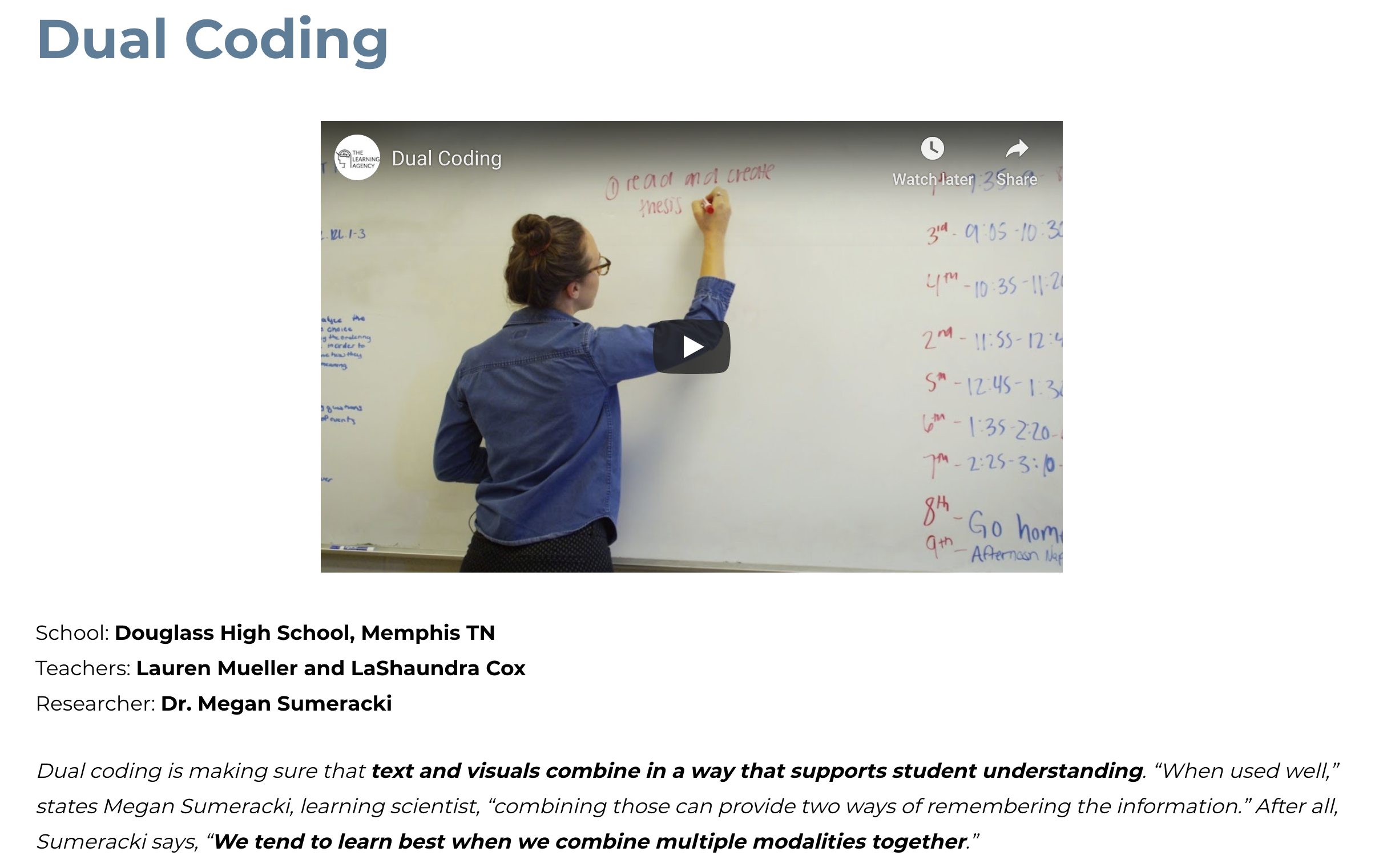 Example, dual coding video