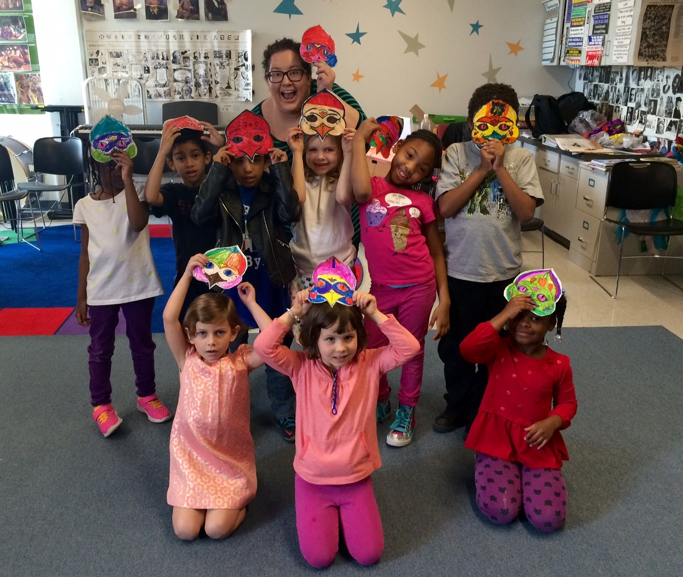 Sporting our Papagena and Papageno masks at ITS Intersession.