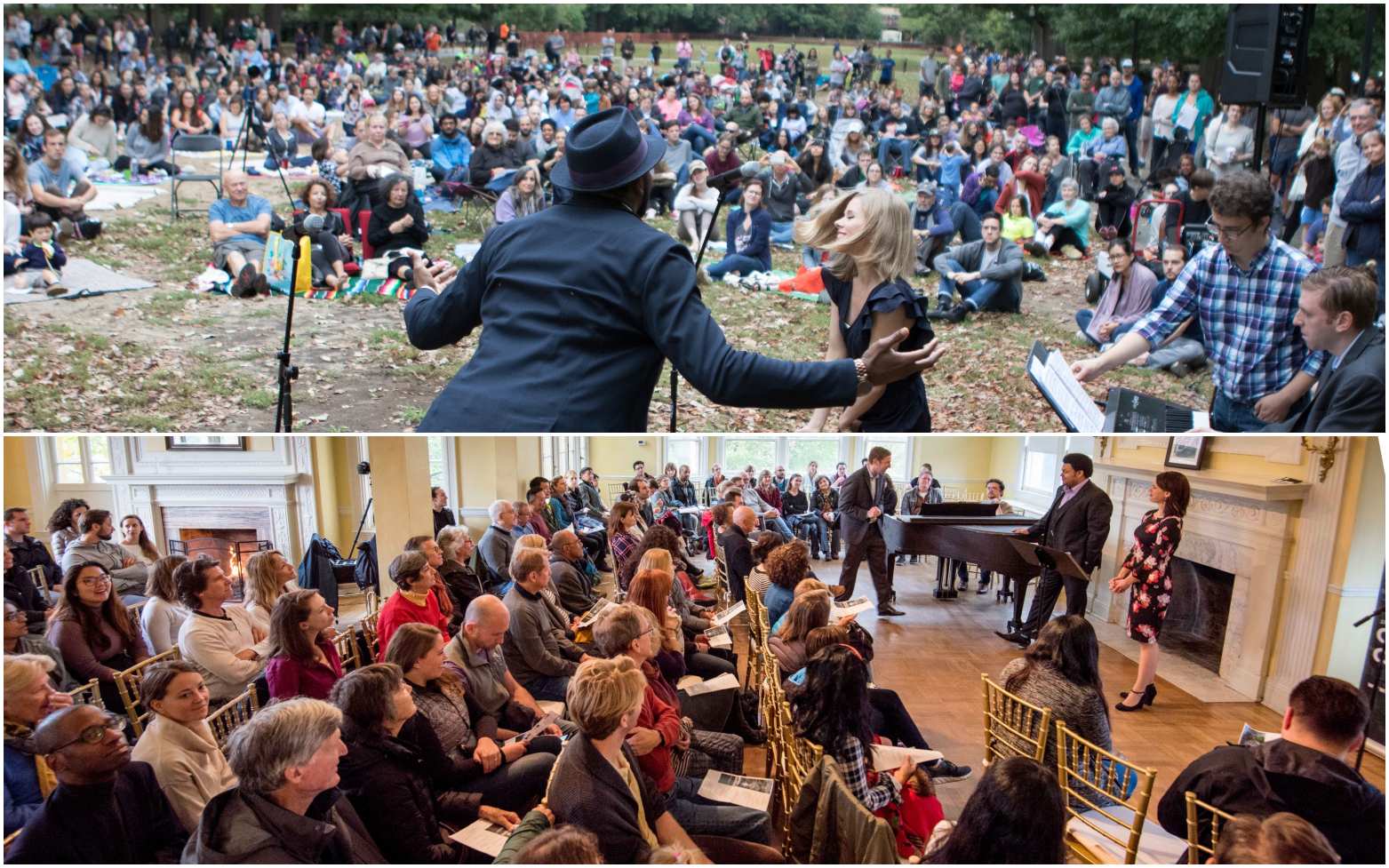 Top: Norman Garrett and Amy Owens sing for a crowd of over 500 in October 2017  Bottom: Joshua Blue and Maria Valdes sing for a relocated crowd (due to weather) of over 200 in October 2018 — rain or shine, the show must go on!