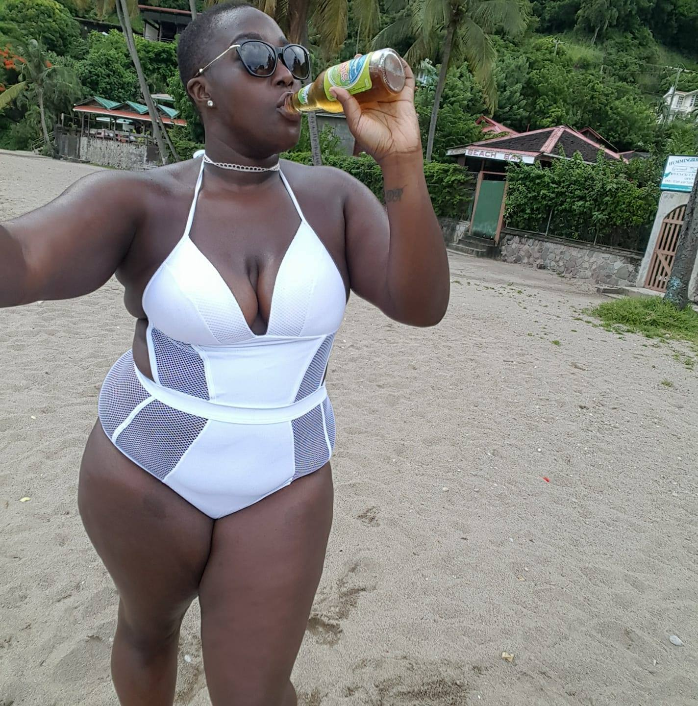 Sipping a St Lucian Shandy on Hummingbird Beach, Soufriere, St Lucia